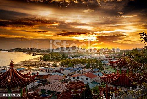 Sunset over the town of Kuching, Sarawak, Malaysia