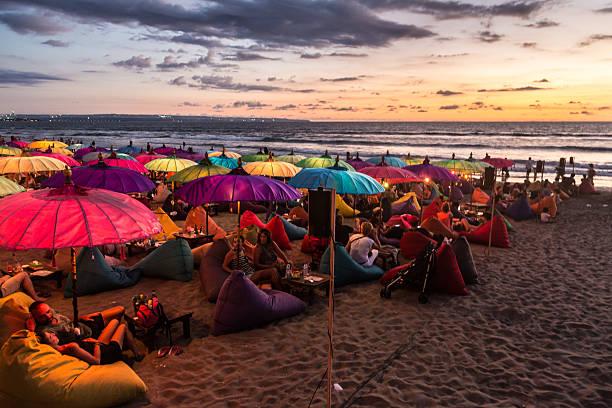 Sunset over Kuta beach - foto stock