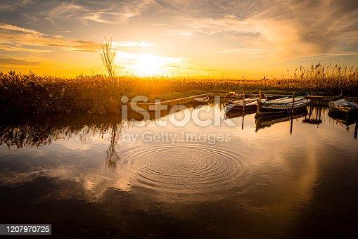 istock Sunset over La Albufera pier. Valencia-Spain 1207970725