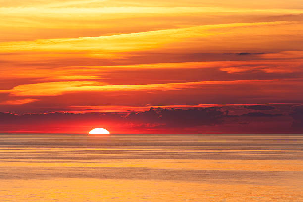 sunset over Lake Erie stock photo