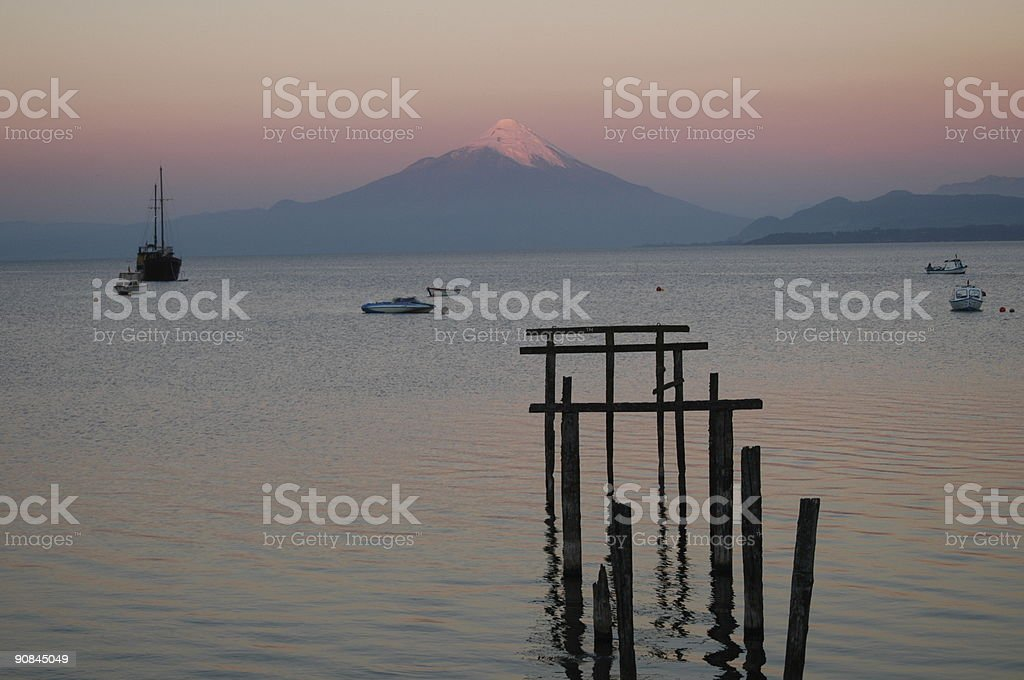 sunset over lake in chile stock photo