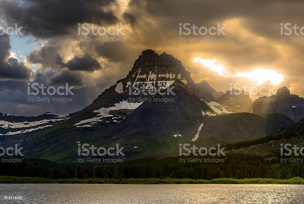 Sunset over lake in Glacier National Park stock photo
