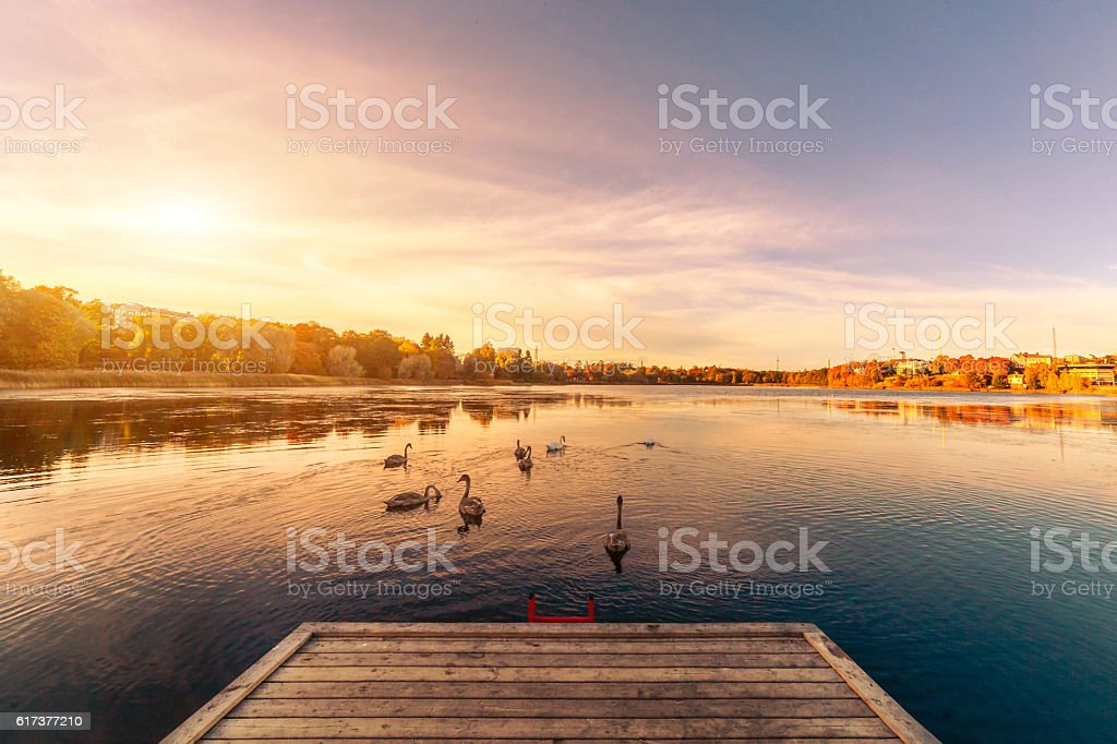 Sunset over lake landscape stock photo