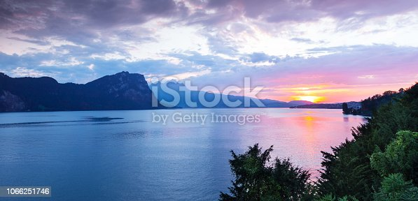 Sunset over Lake Lucerne. In the background is Mount Titlis.
