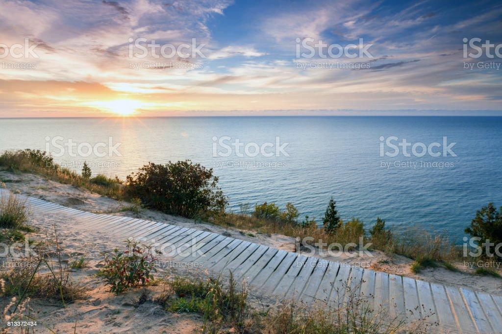 Sunset Over Lake Michigan and Sleeping Bear Dunes stock photo