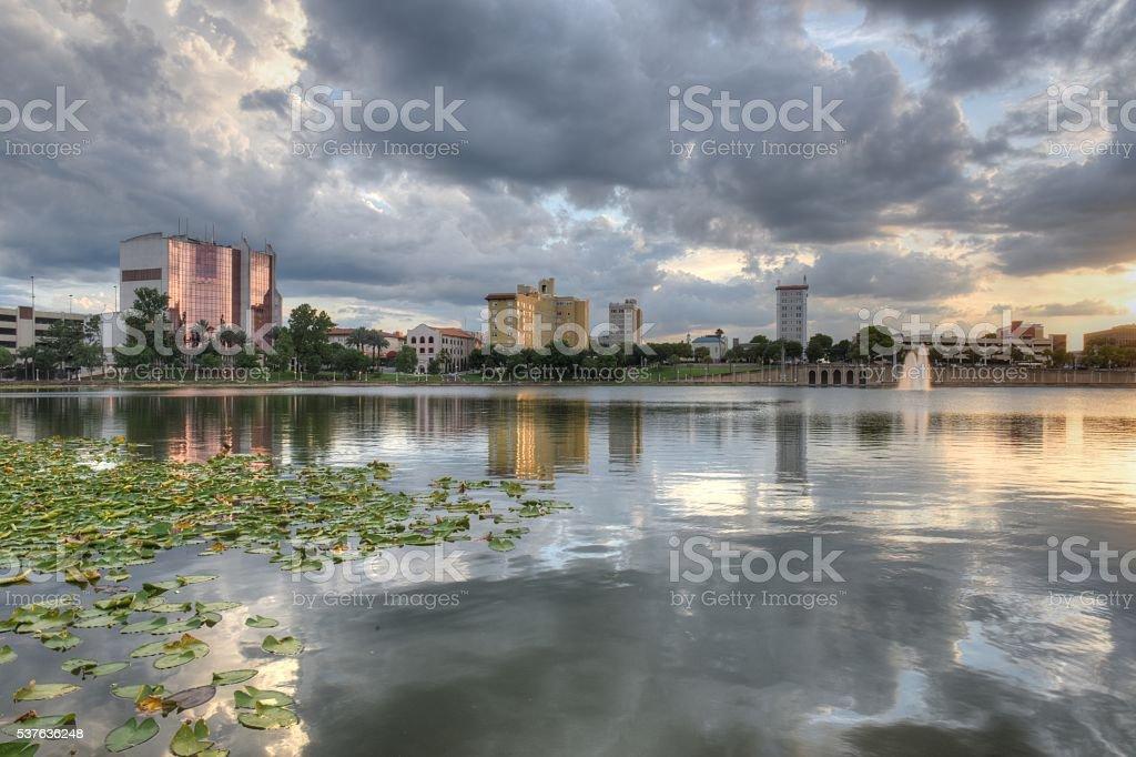 Sunset over Lake Mirror stock photo