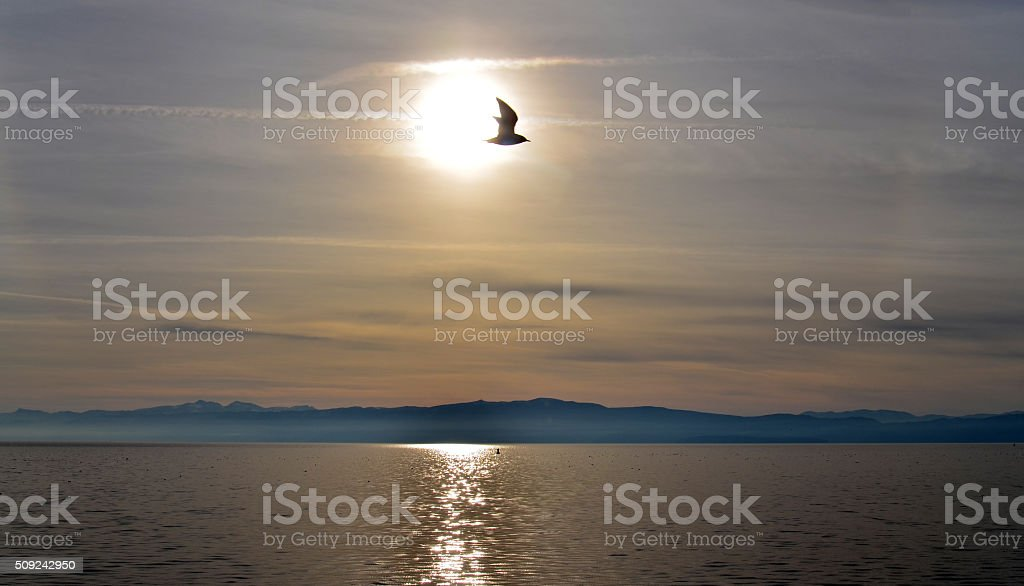 sunset over lake ohrid, macedonia stock photo