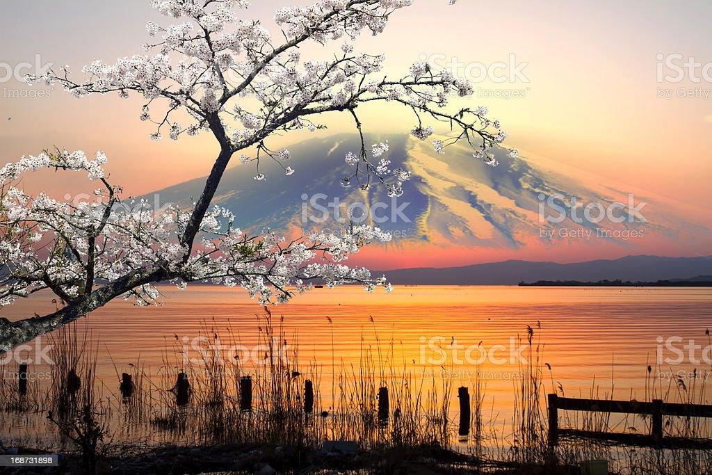 sunset over lake royalty-free stock photo