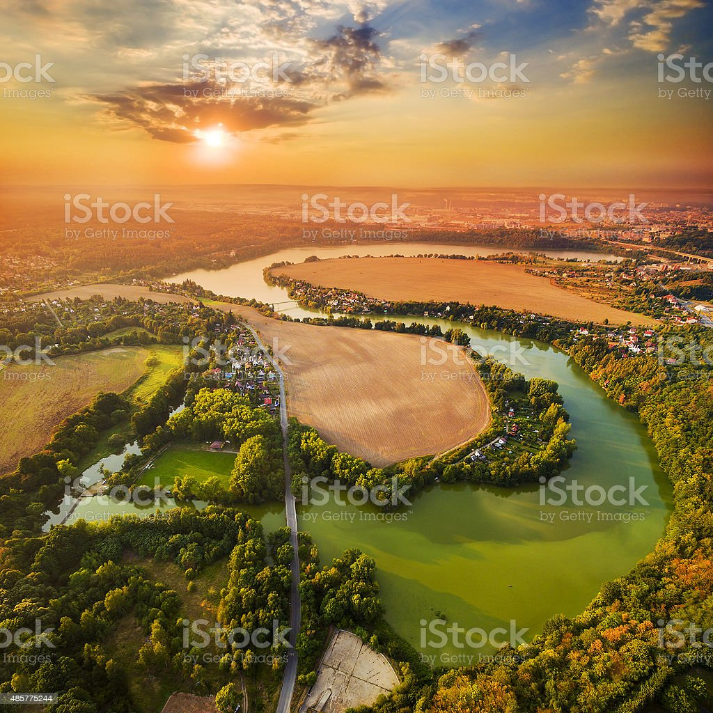 Sunset over lake. stock photo
