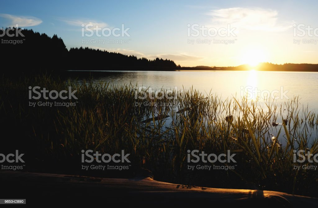 Sunset over Lake royalty-free stock photo