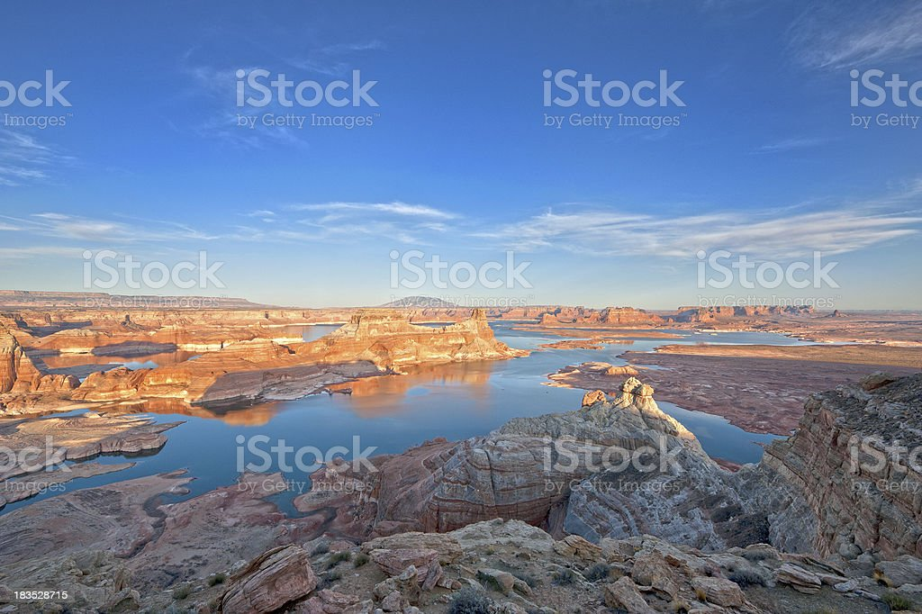 Sunset over Lake Powell from Alstrom Point stock photo