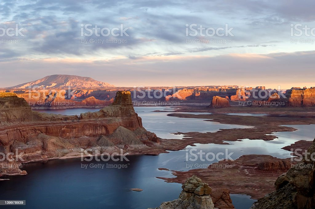 Sunset over lake Powell stock photo