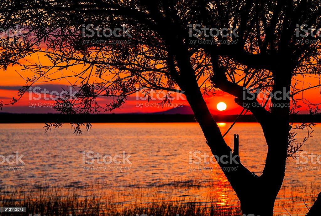 Sunset over lake Rabisha, Bulgaria stock photo