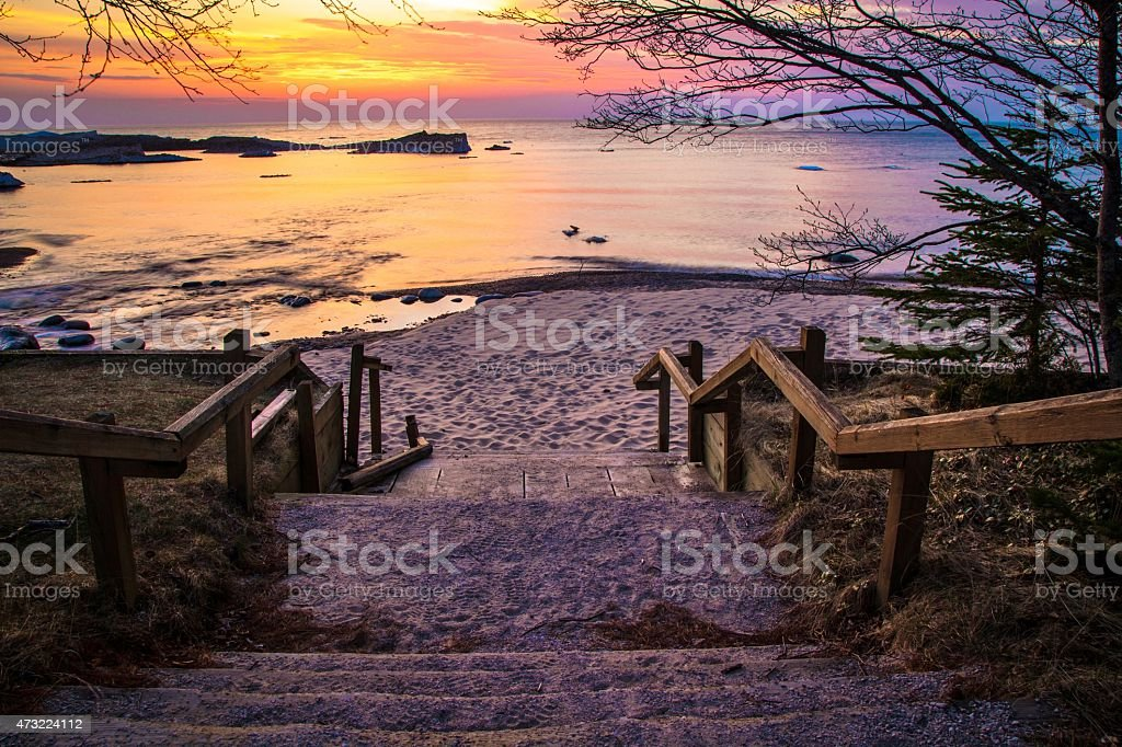 Sunset Over Lake Superior At Pictured Rocks National Lakeshore stock photo