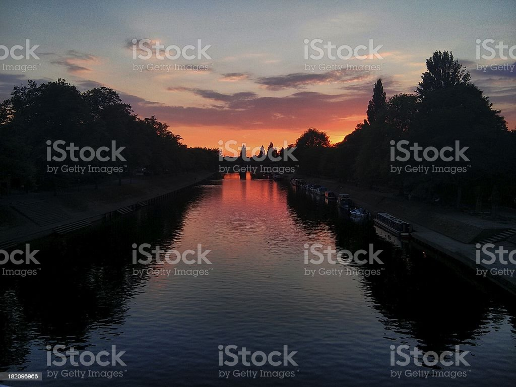 Sunset over length of the river stock photo