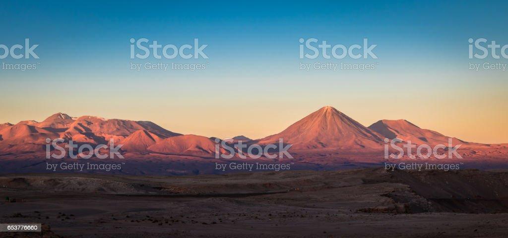 Sunset over Licancabur Volcano - Atacama Desert, Chile stock photo
