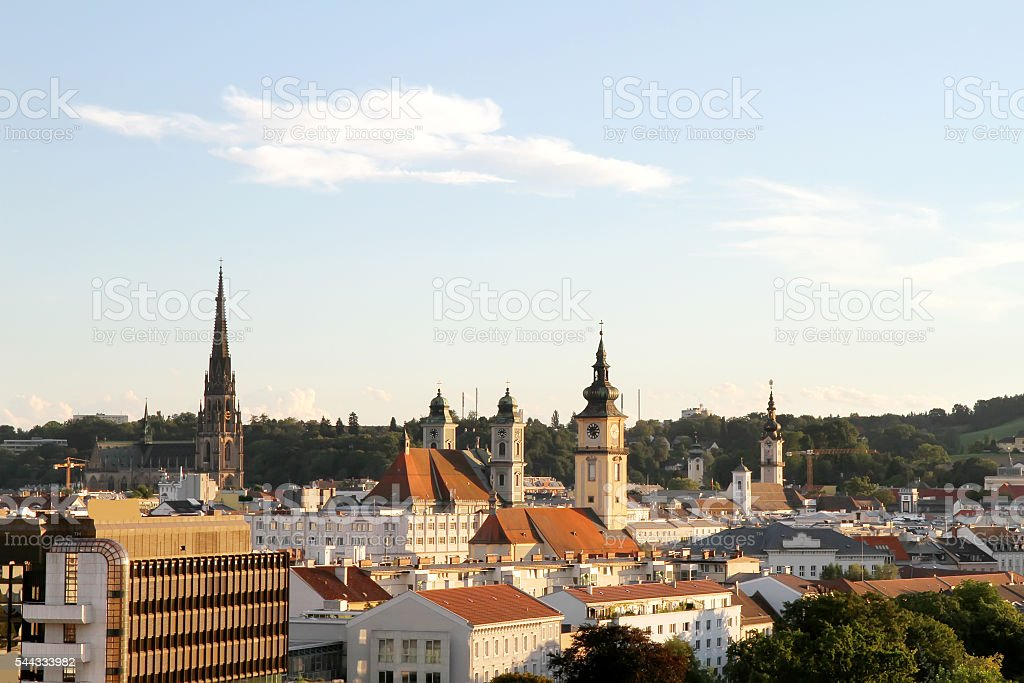 Sunset over Linz stock photo