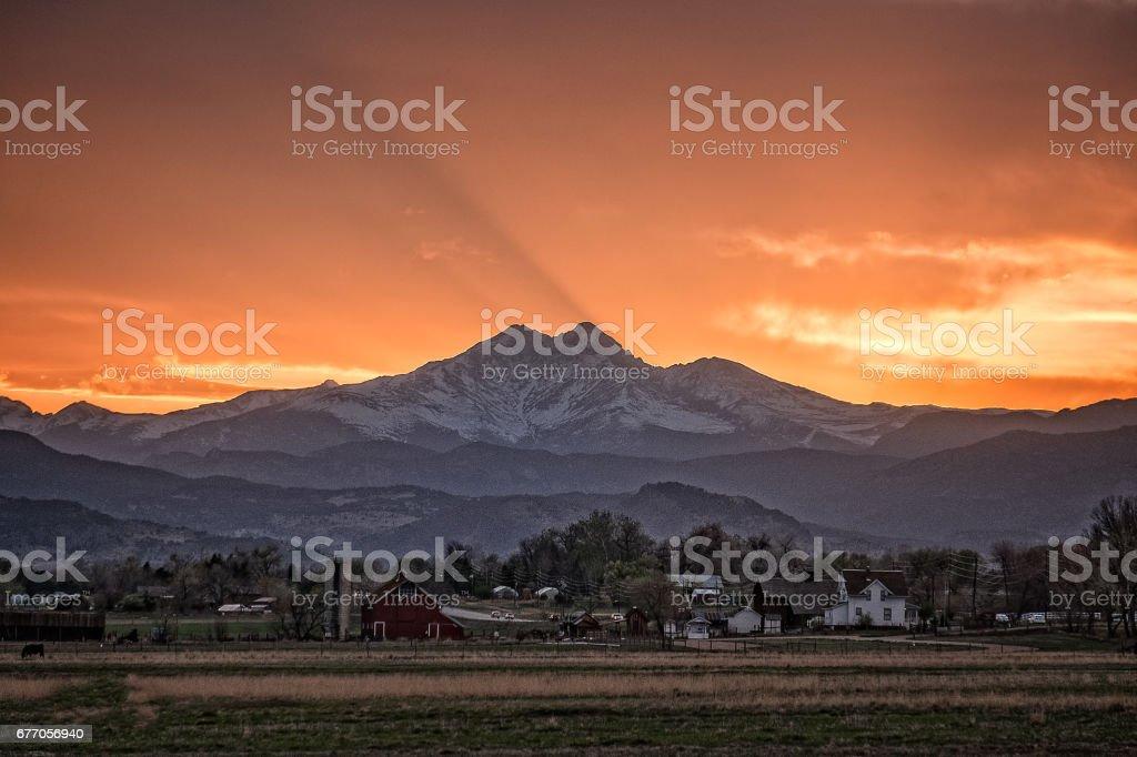 Sunset over Longs Peak Fourteener stock photo