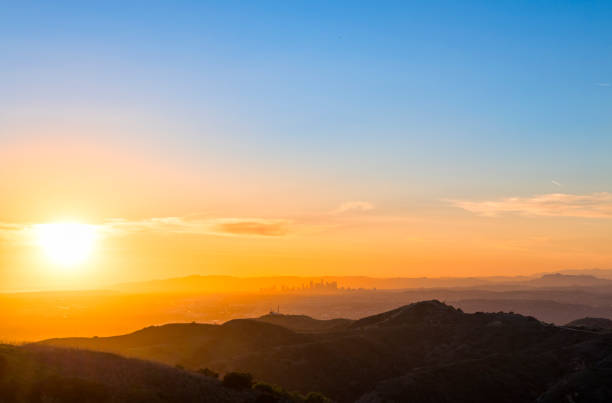 Sunset over Los Angeles stock photo