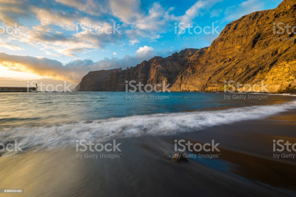 Sunset over Los Gigantes beach in Tenerife stock photo