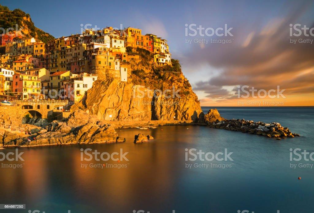 Sunset over Manarola, Cinque Terre, Italy stock photo