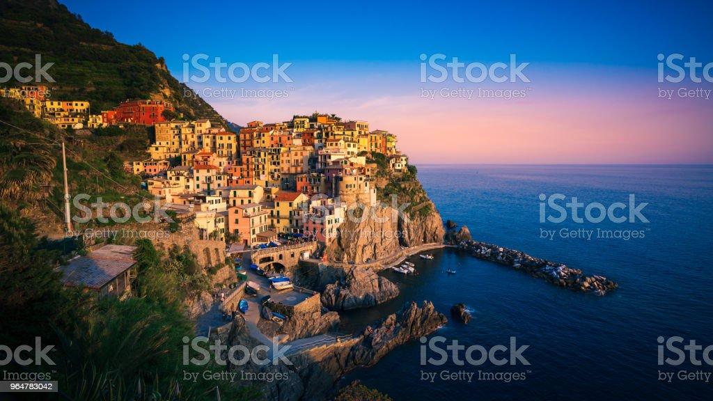 Sunset over Manarola, Cinque Terre, Italy royalty-free stock photo