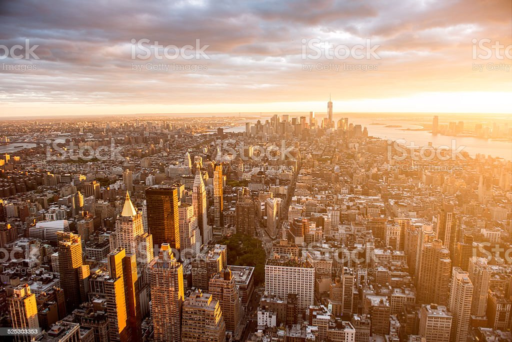 Sunset over Manhattan stock photo
