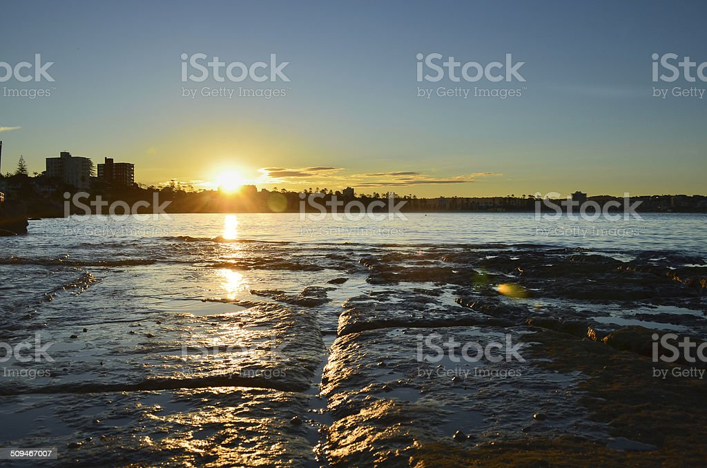 Sunset over Manly. stock photo