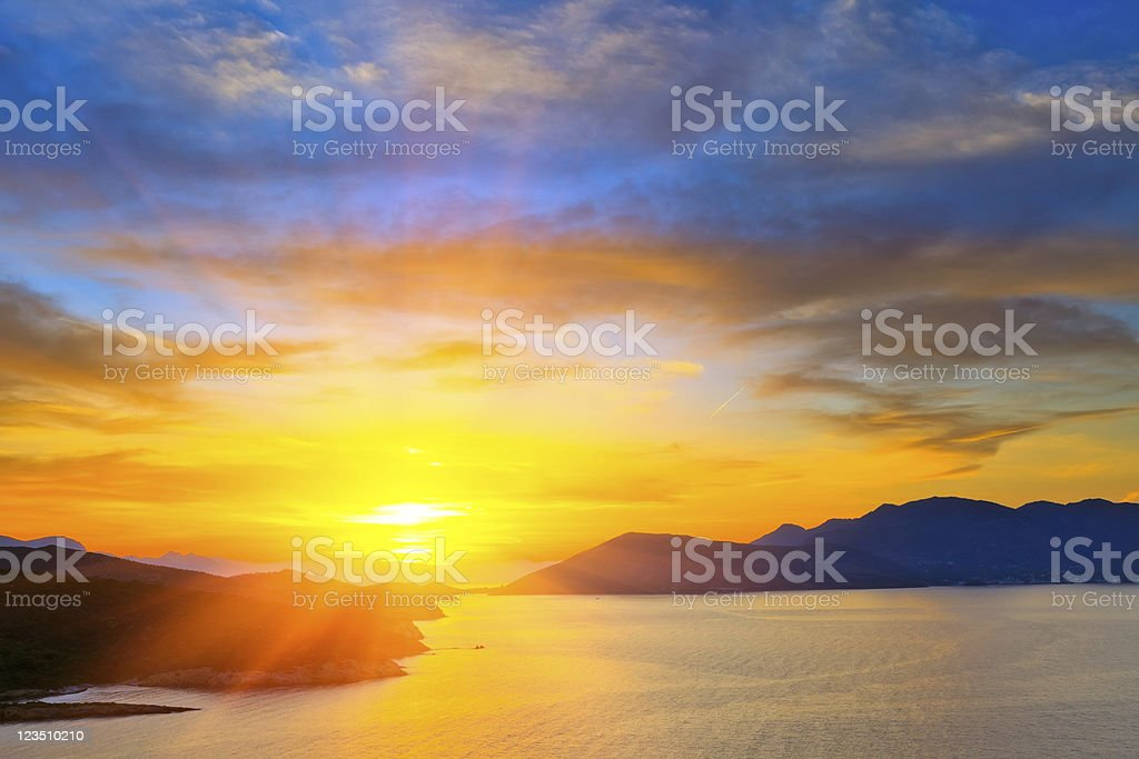 Sunset over Mediterranean sea stock photo