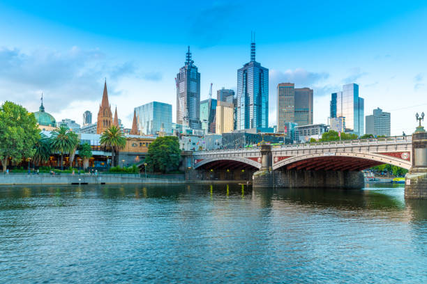 Sunset over Melbourne and Yarra River stock photo