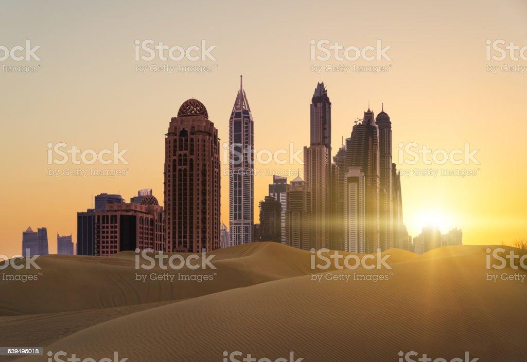 Sunset over modern city stock photo