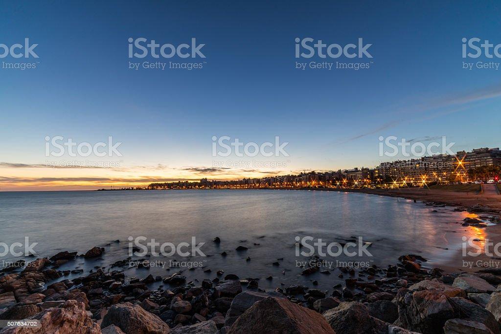 Sunset over Montevideo, Uruguay stock photo