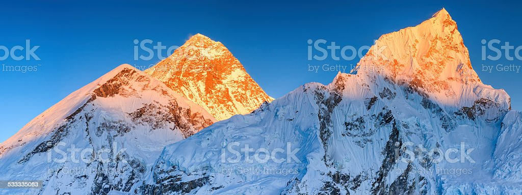 Sunset over Mount Everest - top of  the world stock photo