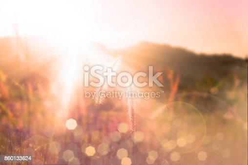 istock Sunset over mountain bokeh 860133624