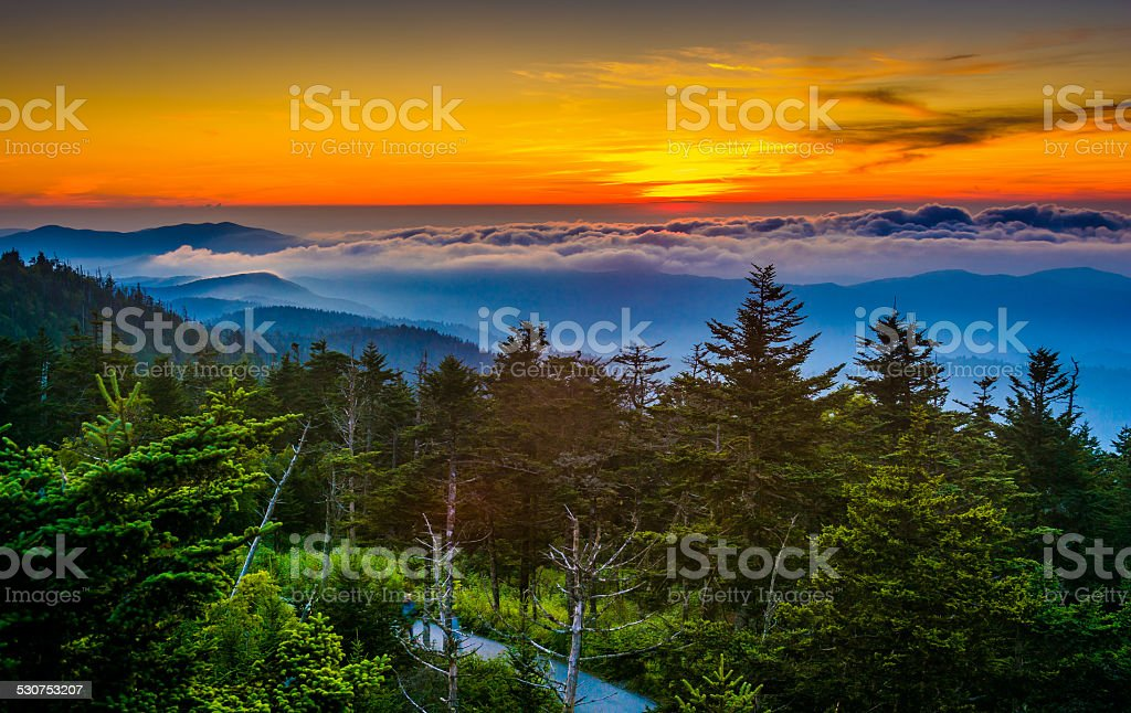 Sunset over mountains and fog from Clingman's Dome Observation T stock photo