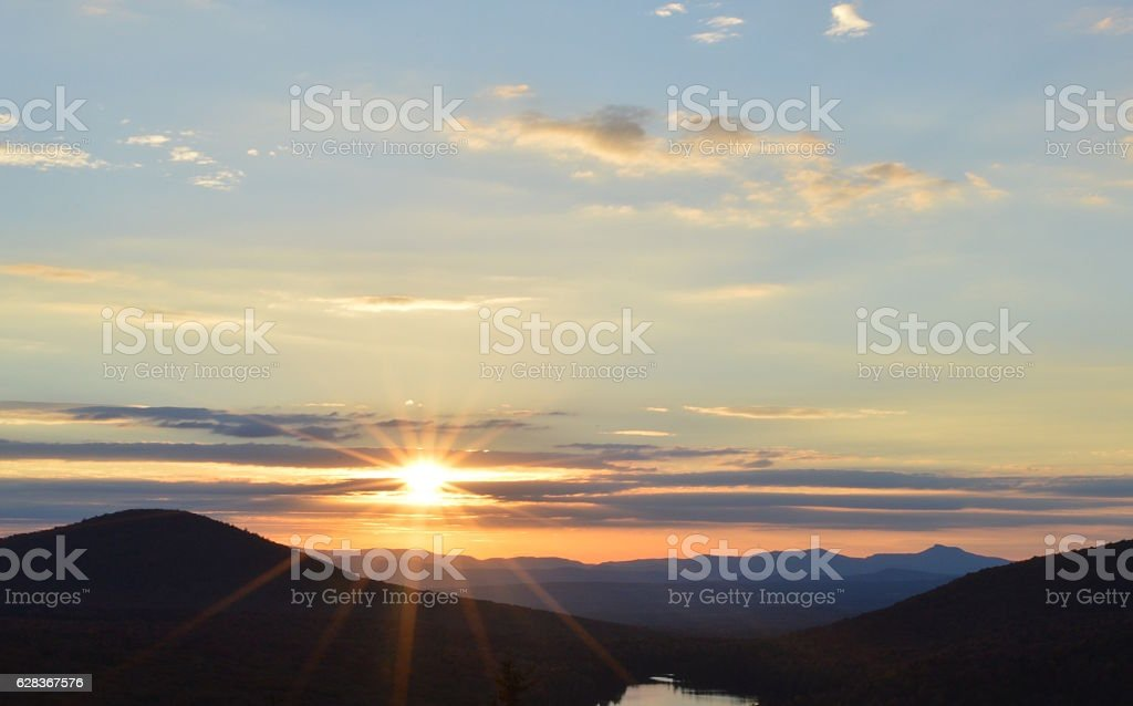 Sunset over mountains and lake, Vermont stock photo