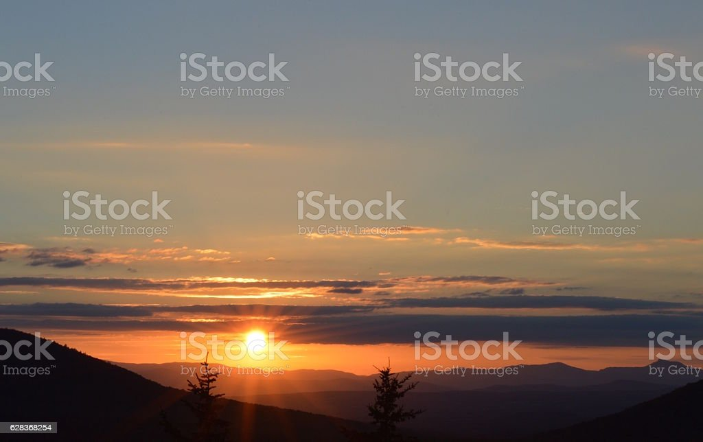 Sunset over mountains and trees, Vermont stock photo