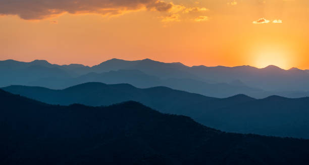 Sunset over mountains in South Mexico stock photo