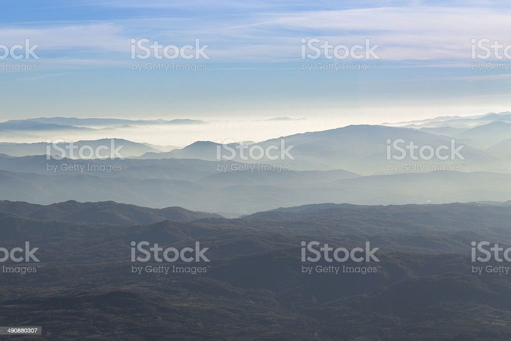 Sunset over mountains royalty-free stock photo