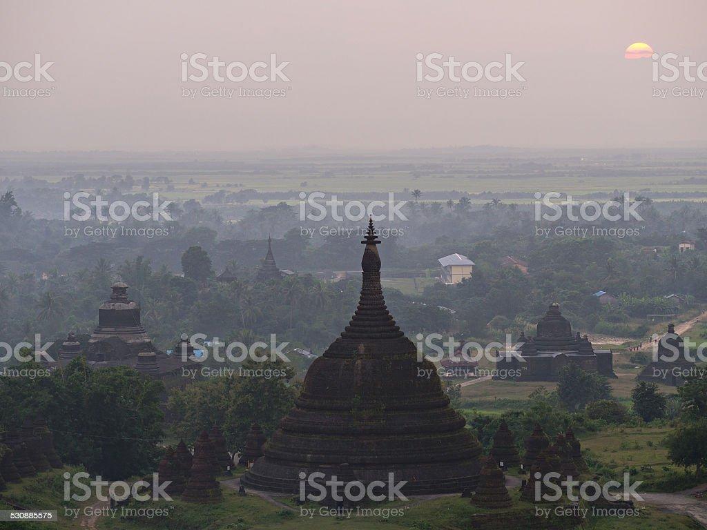 Sunset over Mrauk U, Myanmar stock photo