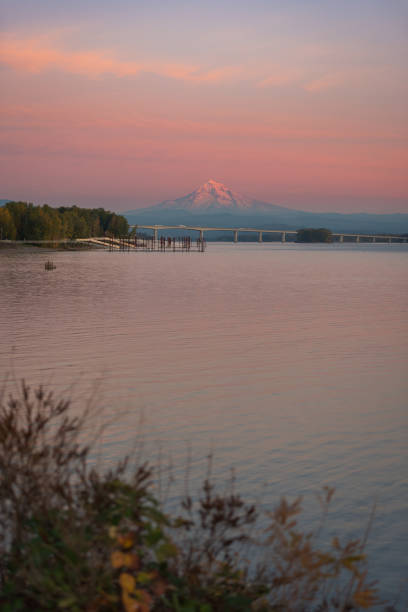 Sunset over Mt Hood and the Columbia River, Pacific Northwest United States stock photo
