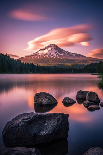 Sunset over Mt Hood and Trillium Lake, Oregon stock photo