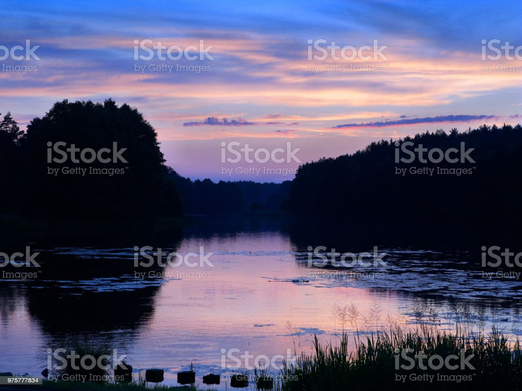 Sonnenuntergang über Mylof See, Polen. - Lizenzfrei Abenddämmerung Stock-Foto