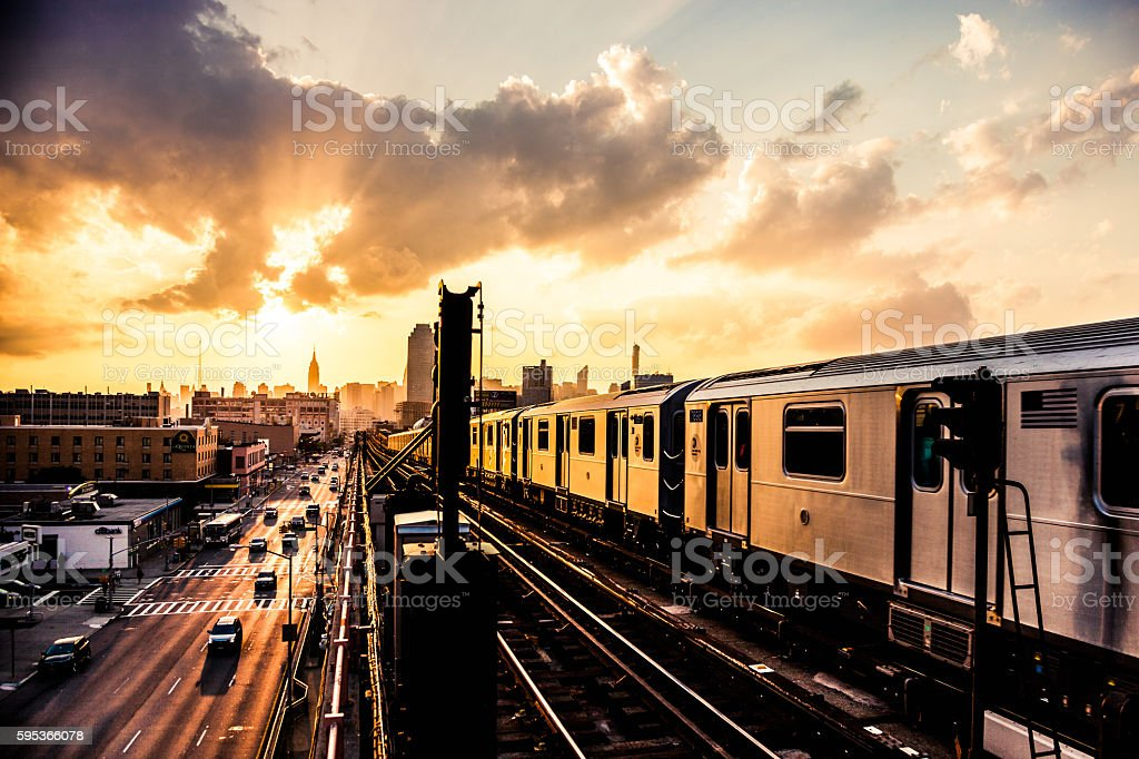 Sunset over New York skyline stock photo