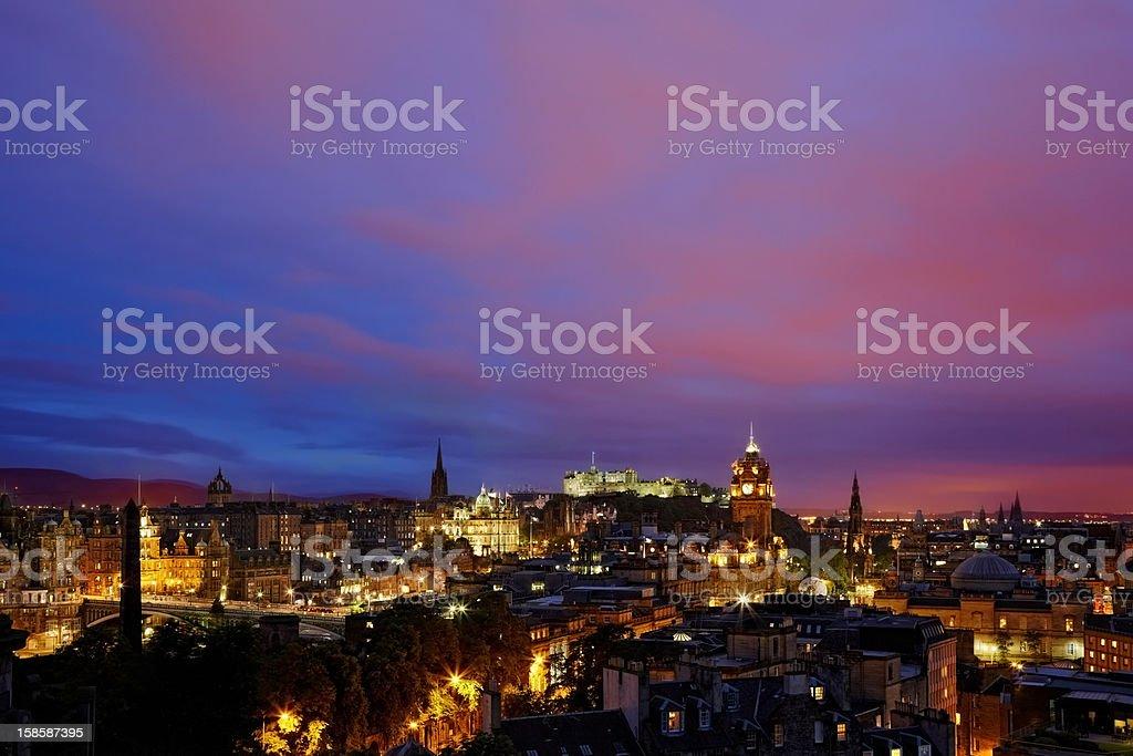 sunset over night Edinburgh, Scotland stock photo