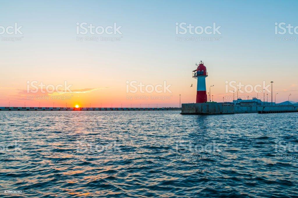 Sunset over Northern mole, Sochi, Russia stock photo