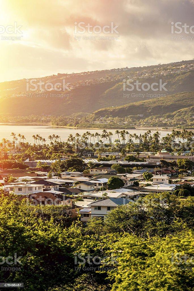 Sunset over Oahu, Hawaii, USA stock photo