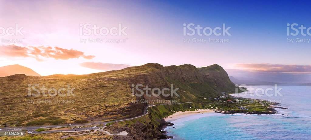 Sunset over Oahu's south shore stock photo