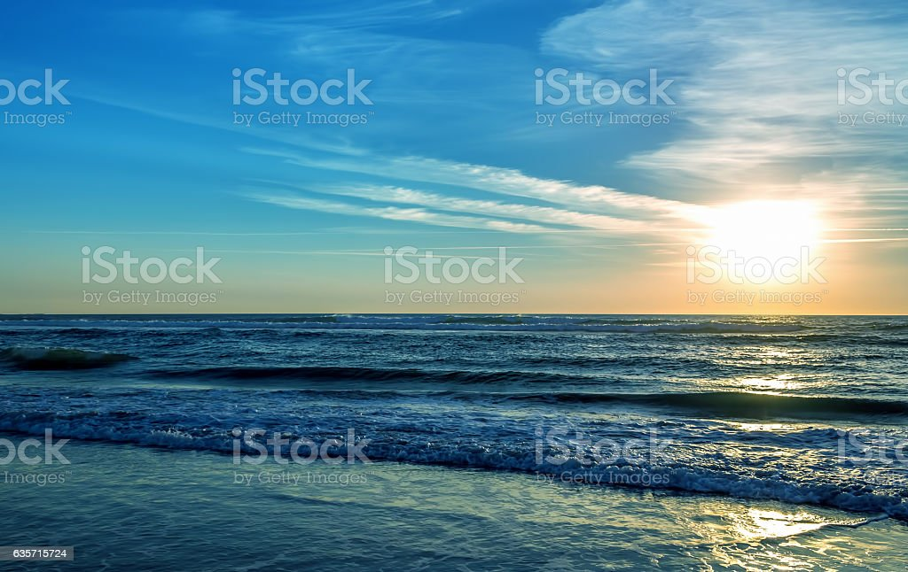 Sunset over ocean or sea background royalty-free stock photo