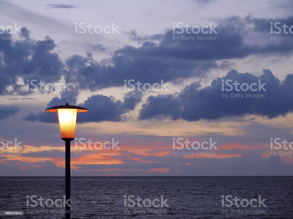 sunset over ozean royalty-free stock photo